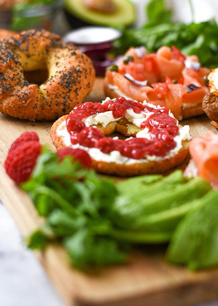moresweetthansalty.com-bagel-with-almond-flour-egg-nyc-style-raspberry-jam